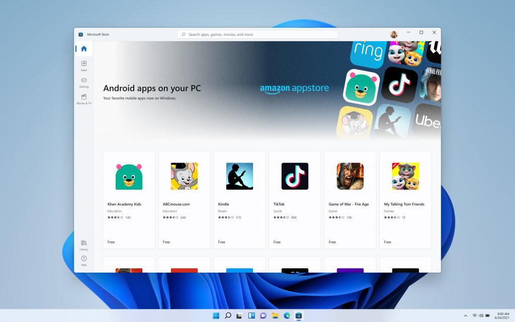Microsoft Windows 11 Androis támogatása