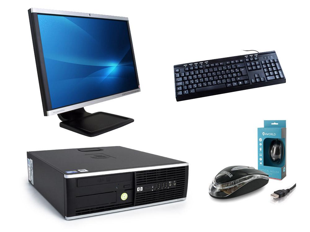 "HP Compaq 8000 Elite SFF + 22"" HP LA2205wg + Klávesnica & Myš - SFF | C2D E7500 | 4GB DDR3 | 120GB SSD | 250GB HDD 3,5"" | GMA 4500 | Win 7 Pro COA | Silver"