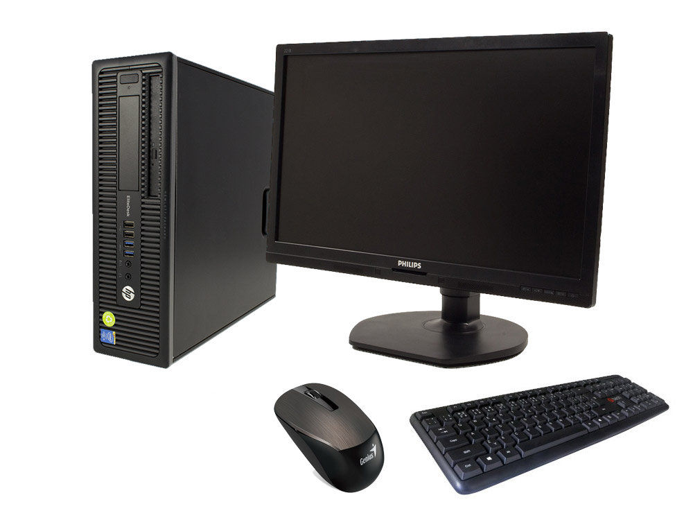 "HP EliteDesk 800 G1 SFF + 21,5"" Philips Brilliance 221B6L + Keyboard & Mouse - SFF | i5-4570 | 4GB DDR3 | 120GB SSD | 500GB HDD 3,5"" | DVD-ROM | HD 4600 | Win 10 Pro | Silver"